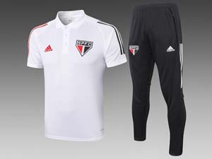 Mens 20-21 Soccer Sao Paulo Polo Shirt And Black Sweat Pants Training Suit 2 Color