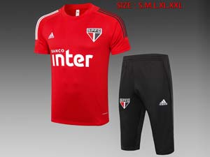 Mens 20-21 Soccer Sao Paulo Short Sleeves And Black Shorts Training Suit 2 Color