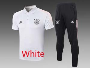 Mens 20-21 Soccer Germany Ntaional Team Polo Shirt And Black Sweat Pants Training Suit 2 Color