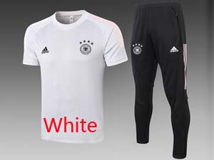 Mens 20-21 Soccer Germany Ntaional Team Short Sleeve And Black Sweat Pants Training Suit 2 Color