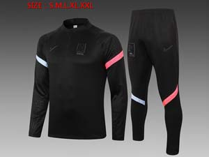 Mens 20-21 Soccer Korea National Team Black Training And Black Sweat Pants Training Suit B400#