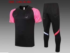 Mens 20-21 Soccer Korea National Team Black Short Sleeve And Black Pants Training Suit C538#