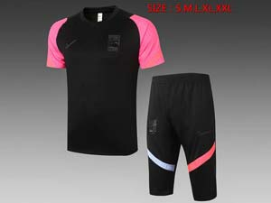 Mens 20-21 Soccer Korea National Team Black Short Sleeve And Black Shorts Training Suit D538#