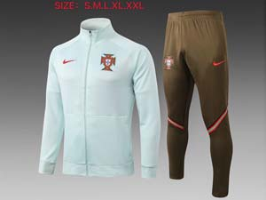 Mens 20-21 Soccer Portugal National Team Light Green Jacket And Black Sweat Pants Training Suit 2 Color