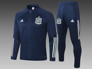 Mens 20-21 Soccer Spain National Team Jacket And Navy Sweat Pants Training Suit 3 Color