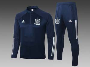 Mens 20-21 Soccer Spain National Team Half Zipper Training And Navy Sweat Pants Training Suit 2 Color