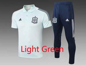 Mens 20-21 Soccer Spain National Team Polo Shirt And Navy Sweat Pants Training Suit 2 Color