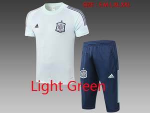 Mens 20-21 Soccer Spain National Team Short Sleeve And Navy Short Training Suit 2 Color