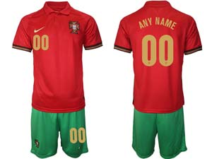 Mens Kids Soccer Portugal National Team Custom Made Red Home 2021 European Cup Short Sleeve Suit Jersey