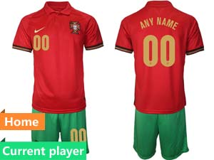 Mens Kids Soccer Portugal National Team Current Player Red Home 2021 European Cup Short Sleeve Suit Jersey