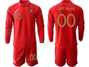 Mens Kids Soccer Portugal National Team Custom Made Red Home 2020 European Cup Long Sleeve Suit Jersey