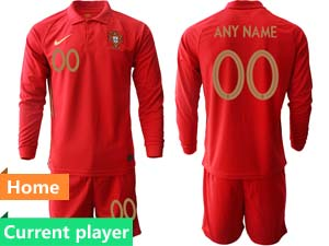 Mens Kids Soccer Portugal National Team Current Player Red Home 2020 European Cup Long Sleeve Suit Jersey