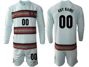 Mens Kids Soccer Portugal National Team Custom Made Light Green Away 2020 European Cup Long Sleeve Suit Jersey
