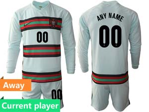 Mens Kids Soccer Portugal National Team Current Player Light Green Away 2020 European Cup Long Sleeve Suit Jersey