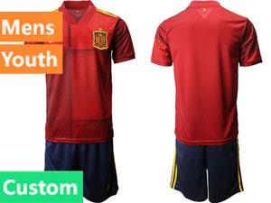 Mens Kids Soccer Spain National Team ( Custom Made ) Red Eurocup 2021 Home Short Sleeve Suit Jersey