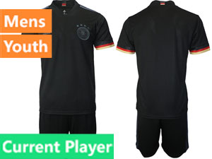 Mens Kids Soccer Germany Ntaional Team Current Player Black 2021 European Cup Away Short Sleeve Suit Jersey