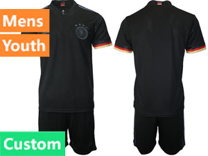 Mens Kids Soccer Germany Ntaional Team Custom Made Black 2021 European Cup Away Short Sleeve Suit Jersey