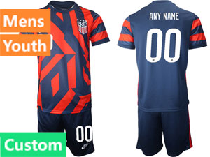Mens 20-21 Soccer Usa National Team Custom Made Nike Red Home Short Sleeve Suit Jersey