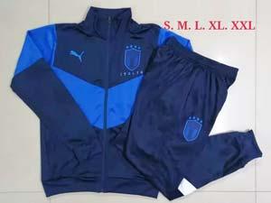 Mens 21-22 Soccer Italy National Team Dark Blue Training And Dark Blue Sweat Pants Training Suit Long Zipper A443#