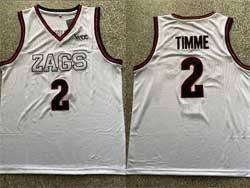 Mens Ncaa Nba Gonzaga Bulldogs #2 Timme White Zags Patch Jersey