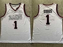 Mens Ncaa Nba Gonzaga Bulldogs #1 Suggs White Zags Patch Jersey