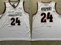 Mens Ncaa Nba Gonzaga Bulldogs #24 Kispert White Zags Patch Jersey