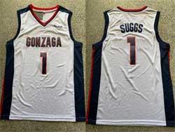 Mens Ncaa Nba Gonzaga Bulldogs #1 Suggs White Jersey