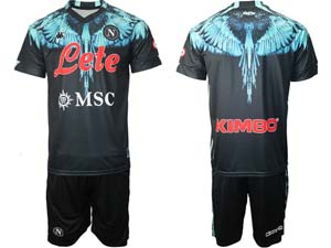 Mens Kappa Soccer Club Napoli Blue Black Home 2020 European Cup Short Sleeve Suit Jersey