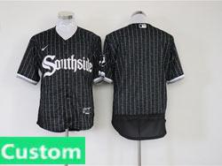 Mens Mlb Chicago White Sox Custom Made Black Stripe City Connect Wordmark Flex Base Nike Jersey