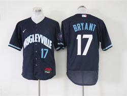 Mens Mlb Chicago Cubs #17 Kris Bryant Dark Blue Wrigleyville Flex Base Nike Jersey