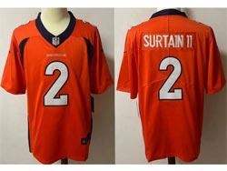 Mens Nfl Denver Broncos #2 Patrick Surtain Ii Orange Vapor Untouchable Limited Nike Jersey