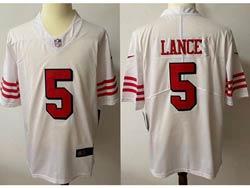 Mens Nfl San Francisco 49ers #5 Trey Lance White Color Rush Vapor Untouchable Limited Nike Jersey