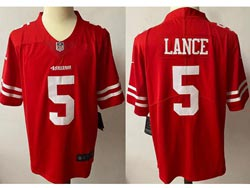 Mens Nfl San Francisco 49ers #5 Trey Lance Red Vapor Untouchable Limited Nike Jersey