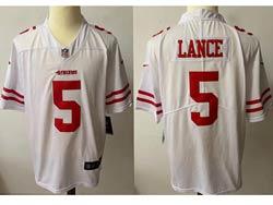 Mens Nfl San Francisco 49ers #5 Trey Lance White Vapor Untouchable Limited Nike Jersey