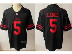 Mens Nfl San Francisco 49ers #5 Trey Lance Black Vapor Untouchable Limited Nike Jersey