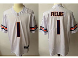 Mens Nfl Chicago Bears #1 Justin Fields White Vapor Untouchable Limited Nike Jersey