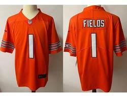 Mens Nfl Chicago Bears #1 Justin Fields Orange Vapor Untouchable Limited Nike Jersey