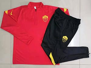 Mens 21-22 Soccer As Roma Club Red Training And  Black Sweat Pants Training Suit Half Zipper