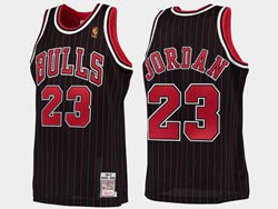 Mens Nba Chicago Bulls #23 Michael Jordan Black Stripe 1996-97 Mitchell&ness Hardwood Classics Mesh Jersey