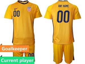 Mens 20-21 Soccer Usa National Team Custom Made Goalkeeper Short Sleeve Suit Jersey 6 Color