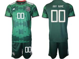 Mens 20-21 Soccer Mexico National Team Custom Made Green Home Short Sleeve Suit Jersey