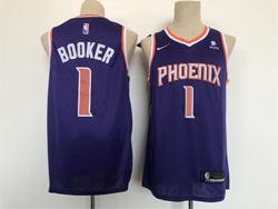 Mens Nba Phoenix Suns #1 Devin Booker Purple With New Patch Swingman Nike Jersey