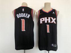 Mens Nba Phoenix Suns #1 Devin Booker Black With New Patch Swingman Nike Jersey