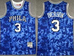 Mens Nba Philadelphia 76ers #3 Allen Iverson Blue Constellation Hardwood Classics Swingman Jersey