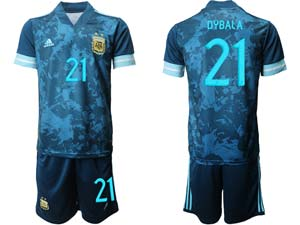 Mens 20-21 Soccer Argentina National Team Custom Made Blue Away Short Sleeve Suit Jersey