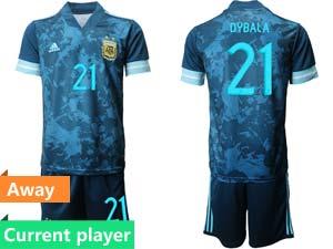 Mens 20-21 Soccer Argentina National Team Current Player Blue Away Short Sleeve Suit Jersey