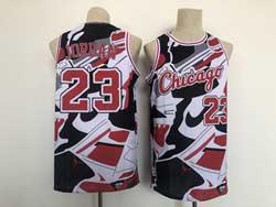 Mens Nba Chicago Bulls #23 Michael Jordan White Shoe Collection Mesh Swingman Jersey