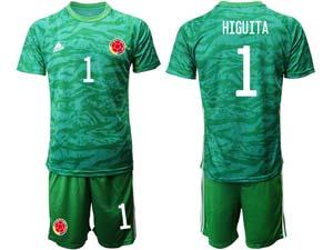 Mens 20-21 Soccer Colombia National Team Custom Made Green Goalkeeper Short Sleeve Suit Jersey