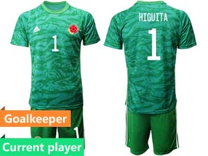 Mens 20-21 Soccer Colombia National Team Current Player Green Goalkeeper Short Sleeve Suit Jersey