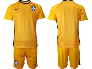 Mens 20-21 Soccer Brazil National Team Custom Made Goalkeeper Short Sleeve Suit Jersey 4 Color